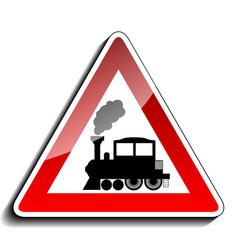 A sign warning train vector image vector image