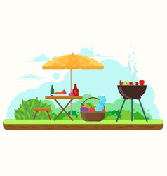 bbq picnic in the garden vector image