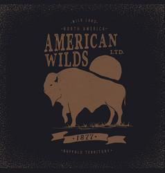 buffalo retro label vector image