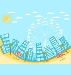 City landscape with beach a resort town vector