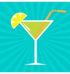 Cocktail in martini glass Sunburst background vector image