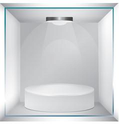 empty glass showcase for exhibit vector image