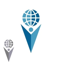 Abstract silhouette man logo holding globe human vector image vector image