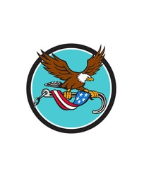 American eagle clutching towing j hook flag drape vector