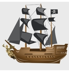 Ancient pirate ship with black sails and flag vector image