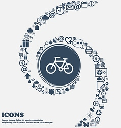 Bicycle icon in the center Around the many vector image vector image