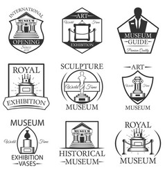 set of museum isolated labels logo and vector image