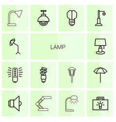 14 lamp icons vector