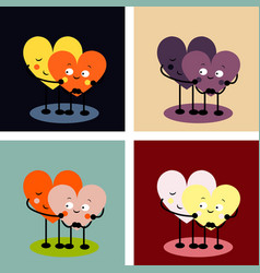 2 linked hearts with eyes vector image