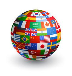 3d world flag globe vector image