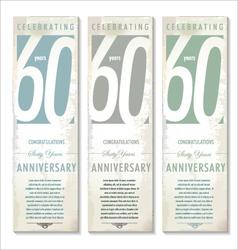 60 years anniversary retro banner set vector