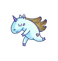 Adorable cartoon unicorn in blue color vector