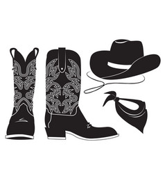 American cowboy clothes black graphic vector