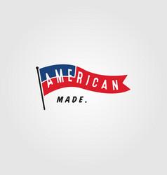 American flag vintage minimalist logo design vector