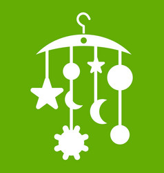 baby bed carousel icon green vector image