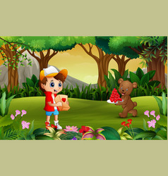 bear carrying a plate of red heart for boy vector image