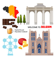 belgium set collection architecture and symbols vector image