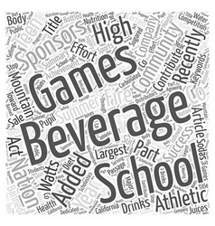 Beverage Company Sponsors Teen Games Word Cloud vector image