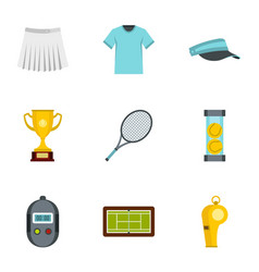 big tennis icons set flat style vector image