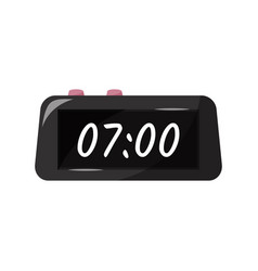 Black digital clock with pink buttons vector
