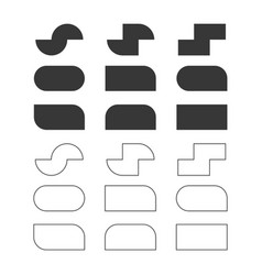 black solid and line empty rectangle shapes set vector image