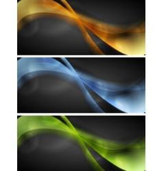 Bright glowing wavy banners vector image