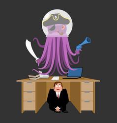 businessman scared under table of alien invader vector image