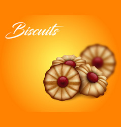 Buttery cookies with red jam on bright orange and vector