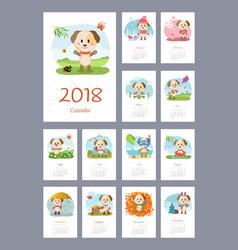 Calendar 2018 year with dog vector