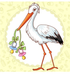 Card with stork and two pacifiers for twins vector image