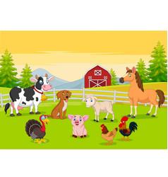 Cartoon farm animals in farming background vector