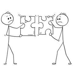 Cartoon of two businessmen holding unmatching vector