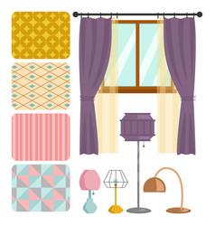 cartoon table lamps light bulb interior furniture vector image