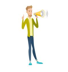 Caucasian businessman talking into loudspeaker vector