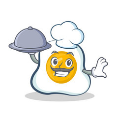 Chef fried egg character cartoon with food vector