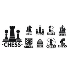 chess game logo set simple style vector image