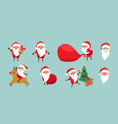christmas santa claus set cute cartoon vector image