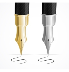 Close up of a fountain pens and signature vector