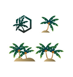 collection of palm tree summer logo vector image