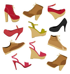 color background with set of male and female shoes vector image