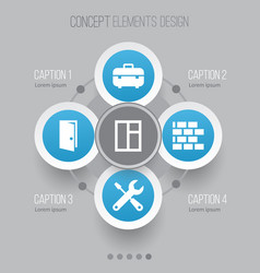 construction icons set collection of glass frame vector image