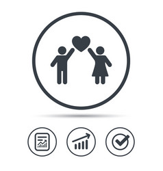 Couple love icon traditional young family sign vector
