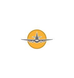 creative airplane circle logo design vector image
