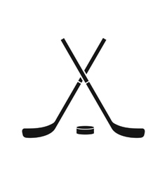 Crossed hockey sticks and puck icon simple style vector