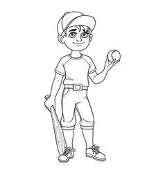 cute boy in baseball suit with ball and bat vector image