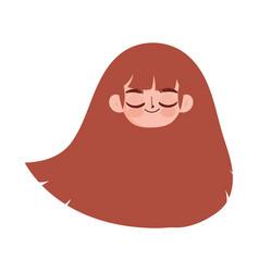 cute face girl close eyes long hair cartoon vector image