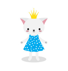 Cute princess kitty vector