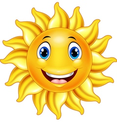 Cute smiling sun cartoon vector