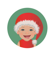 cute smiling tongue out baby santa claus emoticon vector image