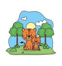 Cute tiger family in landscape vector